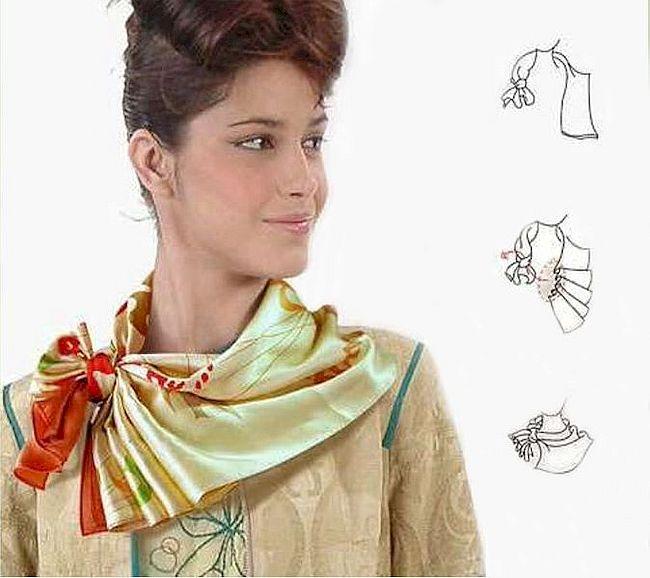 Как красиво завязывать платок на шею разными способами: пошагово, фото