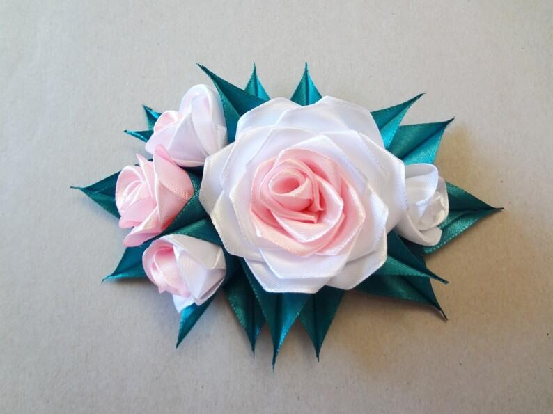 Канзаши: Заколка с розами